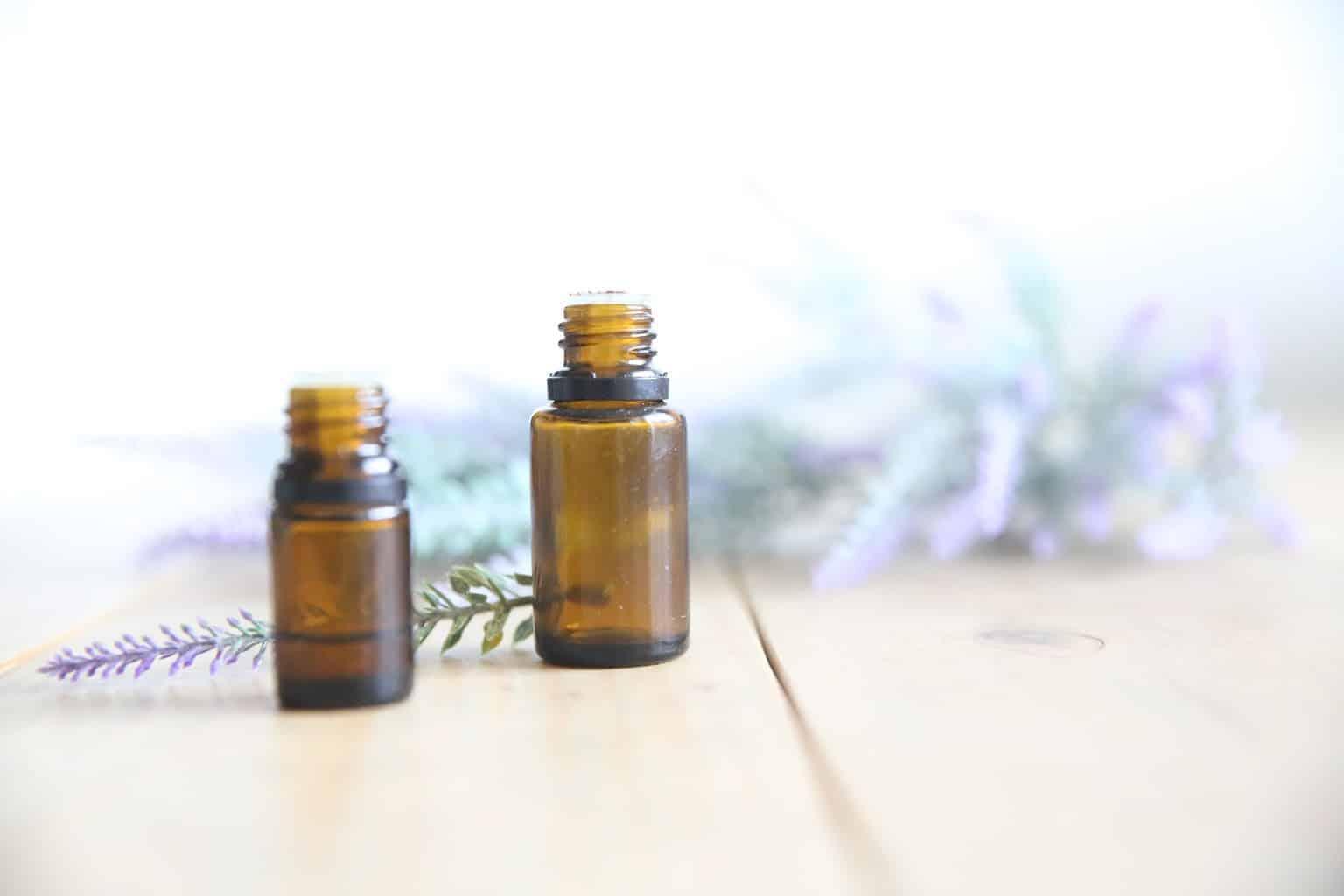 glass amber colored lavender essential oil dropper bottles