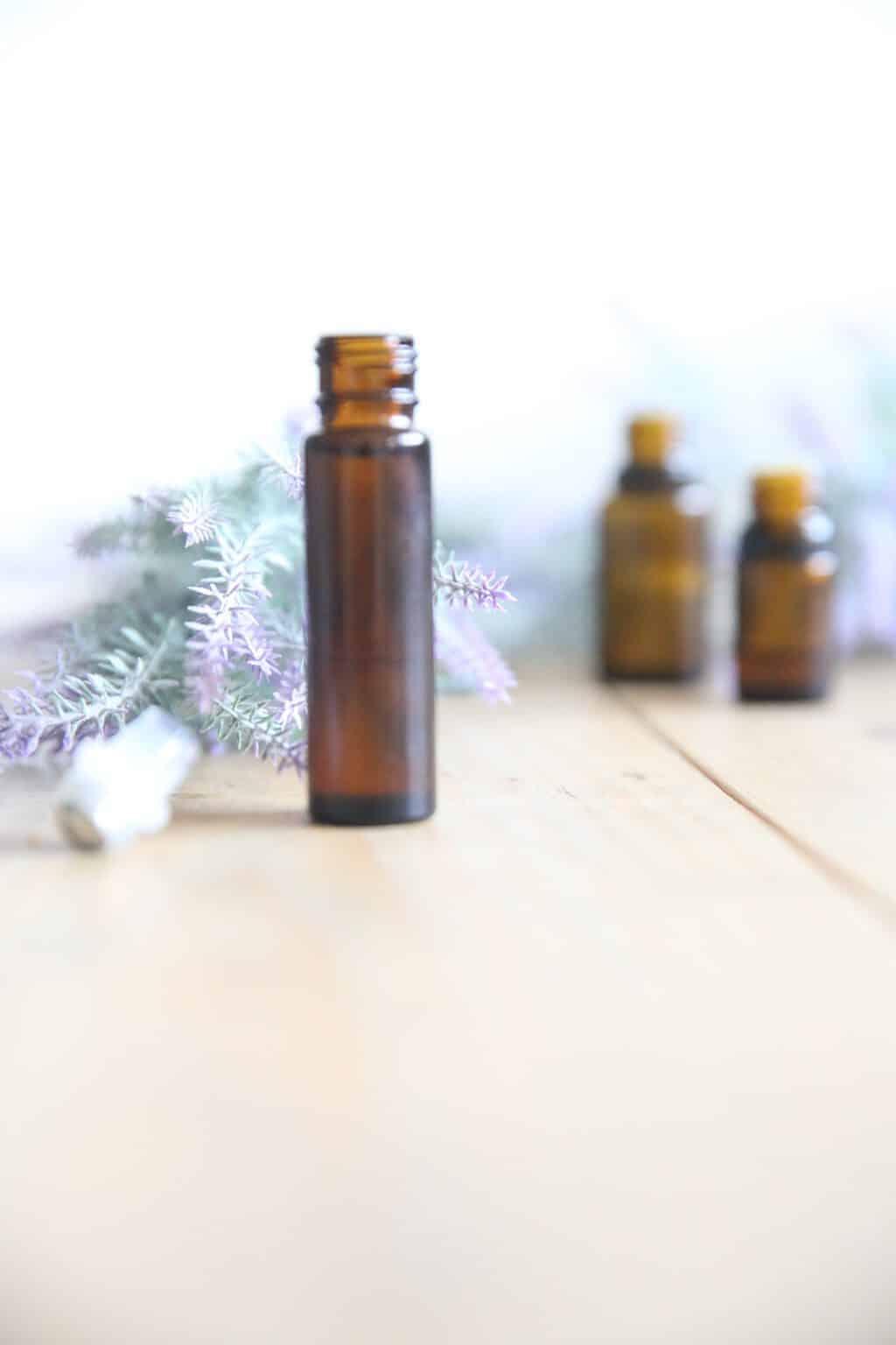 homemade lavender essential oil roller bottle