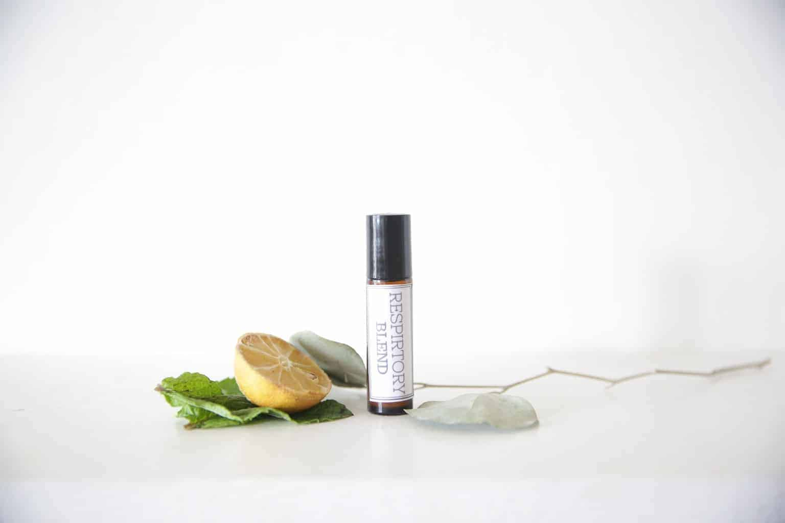 Essential oil roller bottle blend for respiratory.