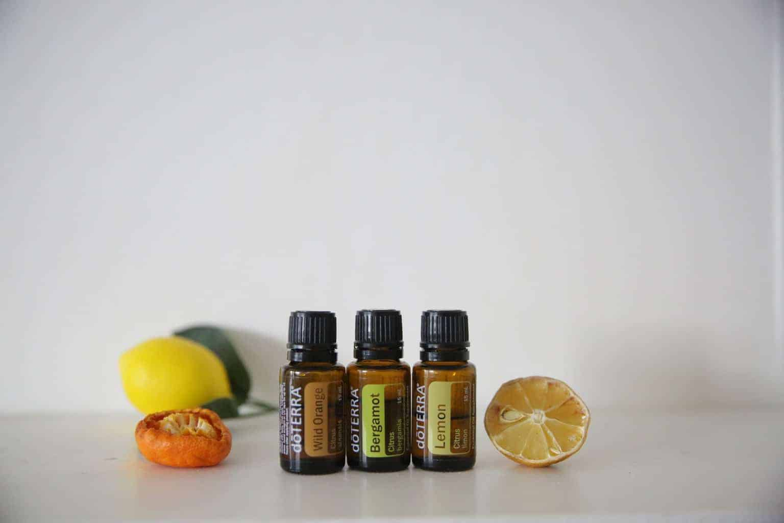 Essential oil diffuser blend oils with dried lemon and orange