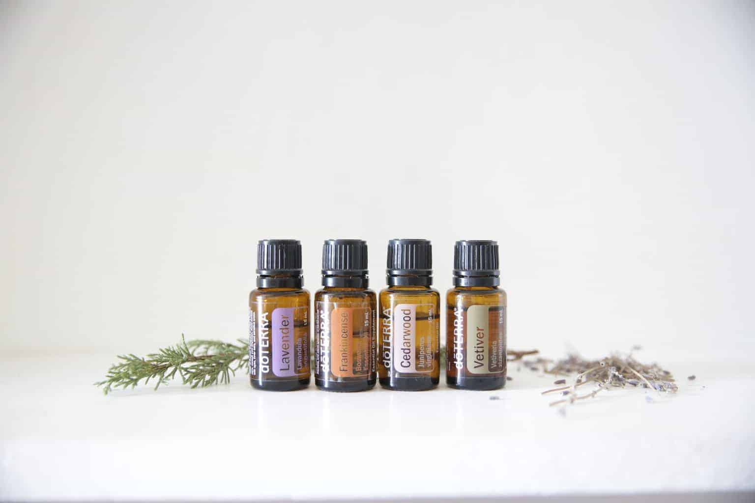 lavender frankincence cedarwood and vetiver oils in 15ml glass bottles