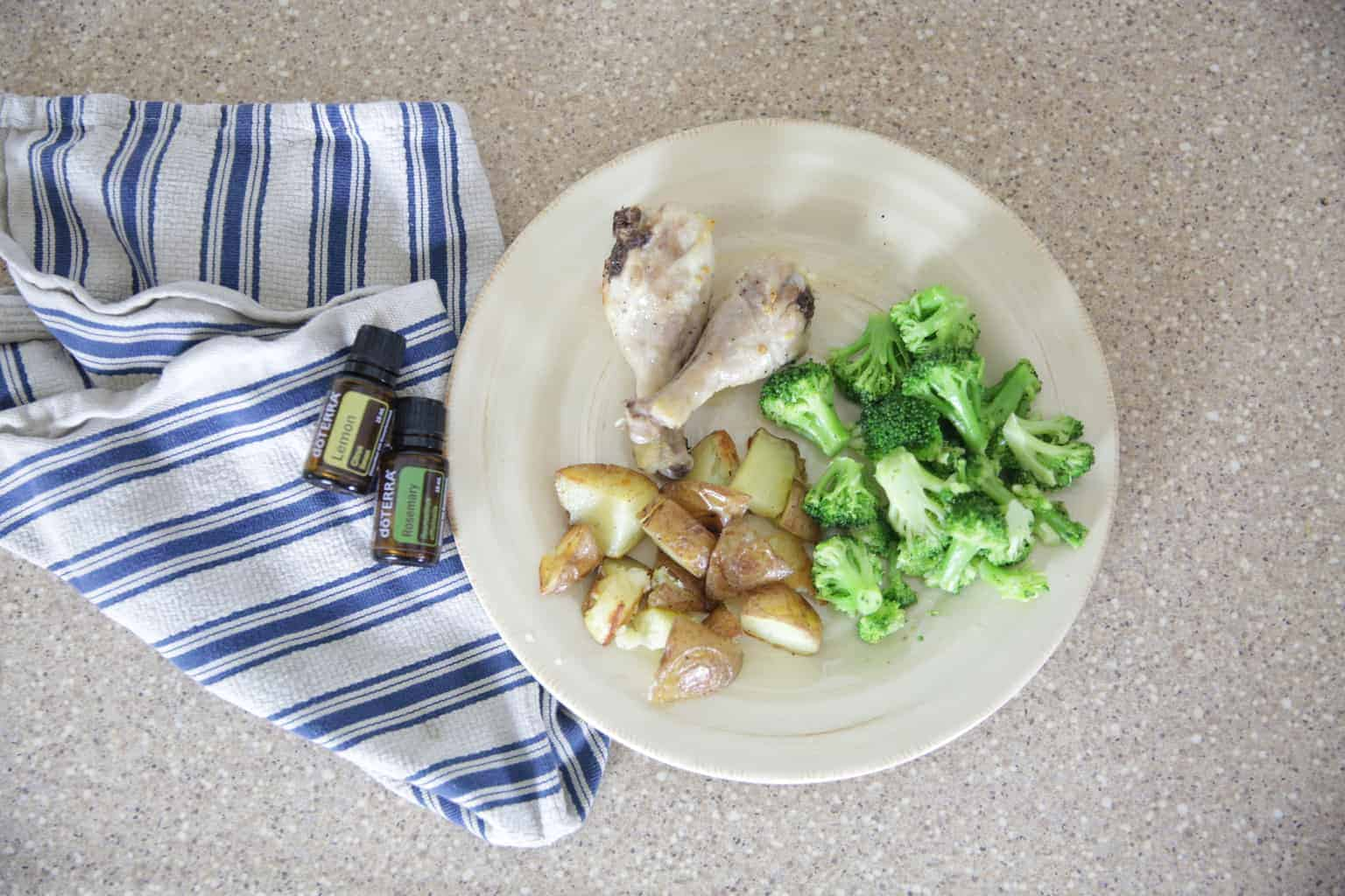 lemon rosemary chicken legs with broccoli and potatoes