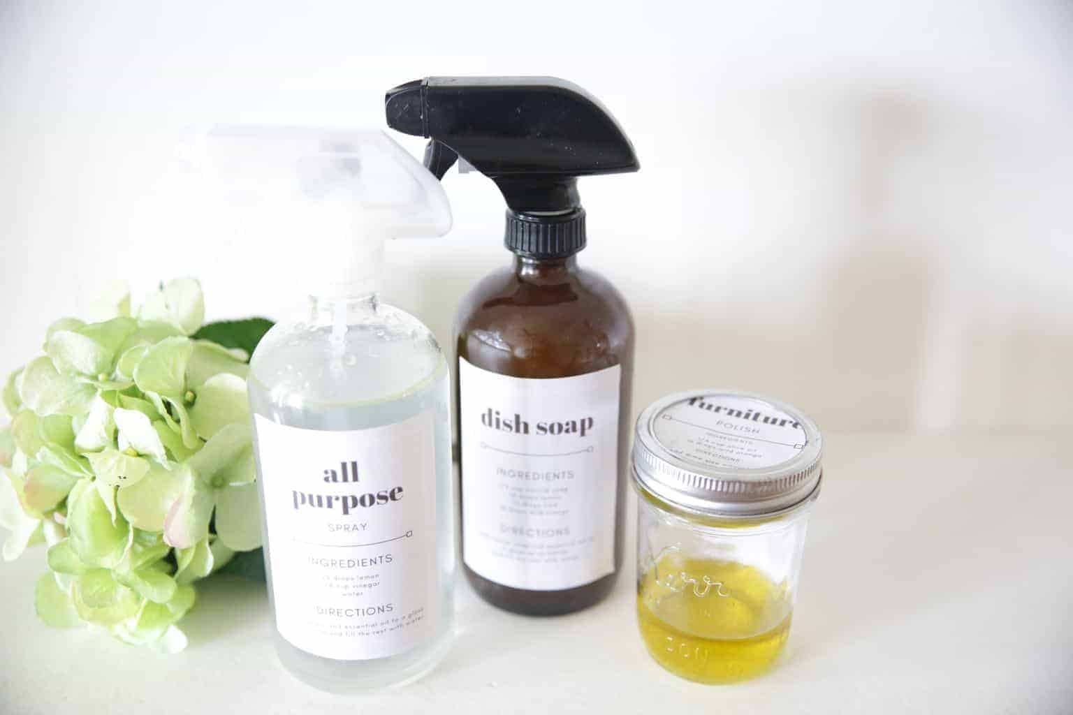 homemade all purpose cleaners in glass spray bottles