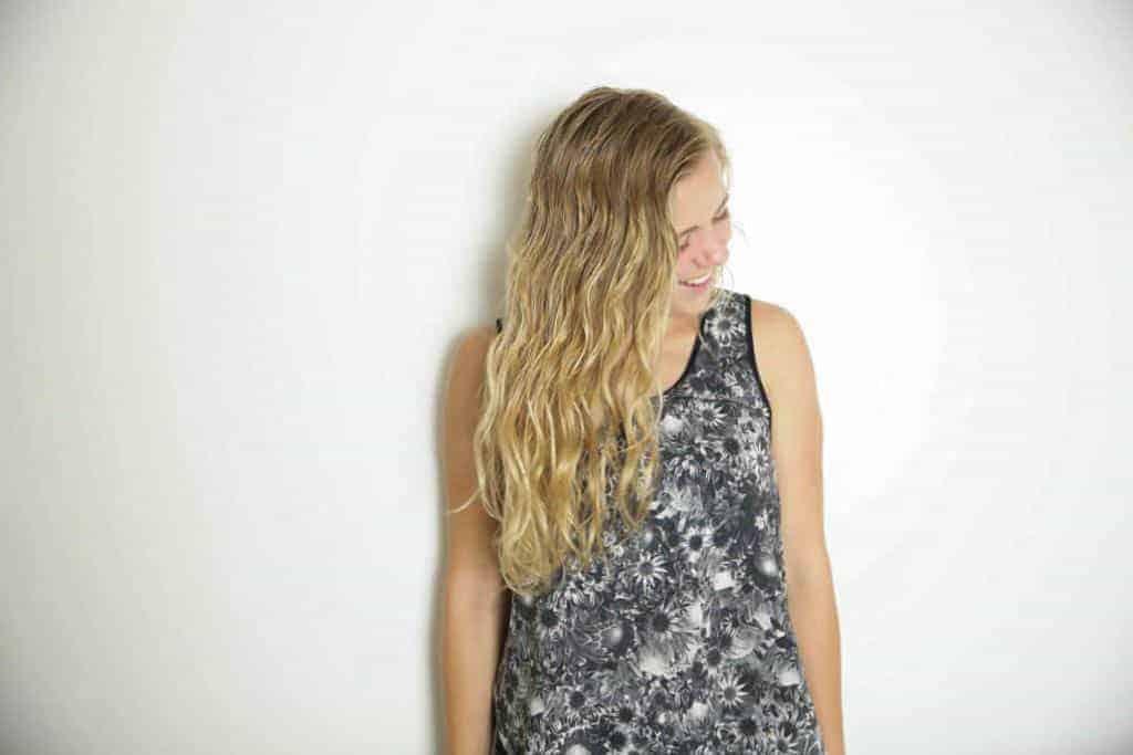 girl with blonde wavy beach hair