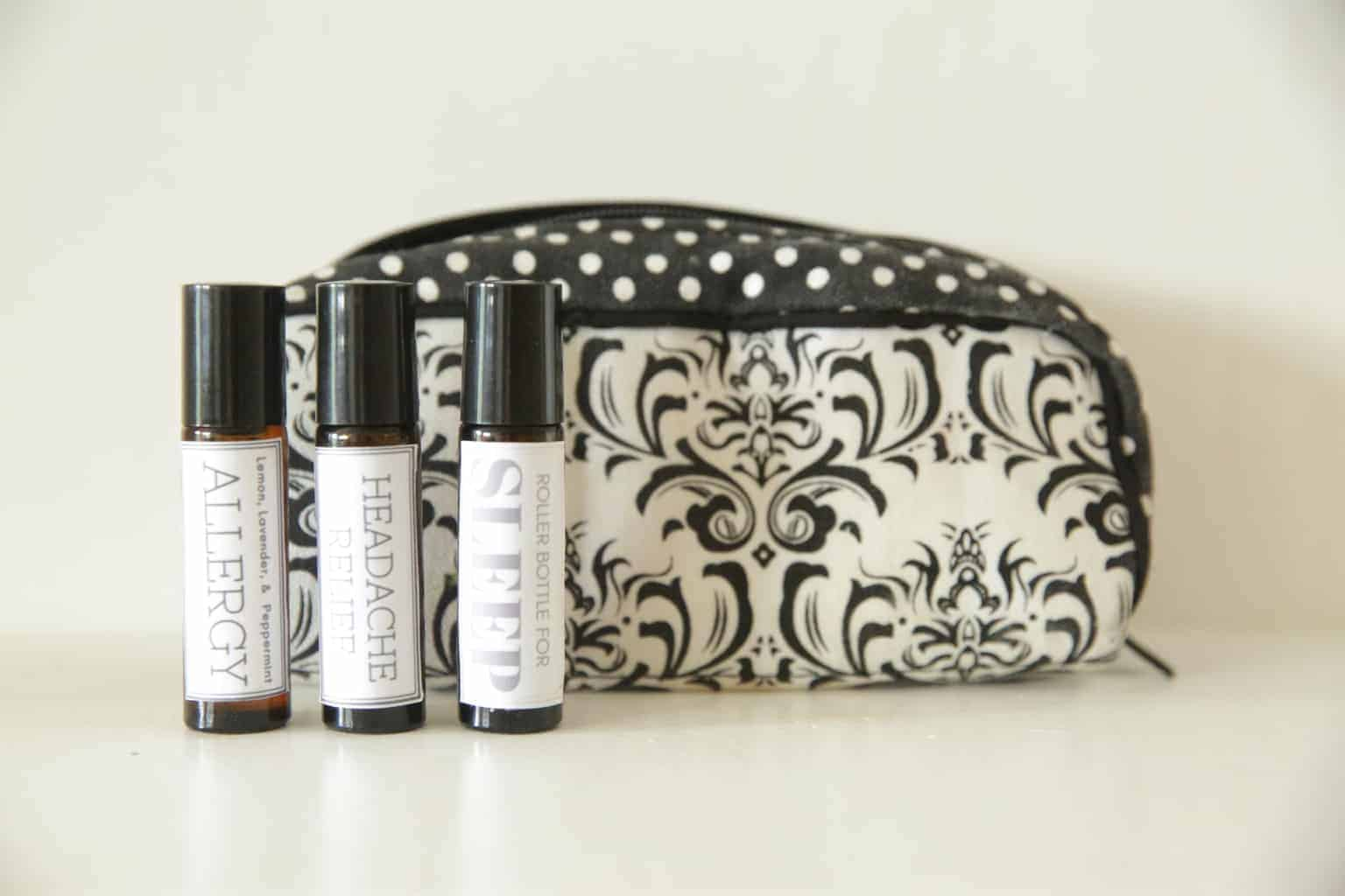 essential oil travel bag with 3 homemade rollerball blends