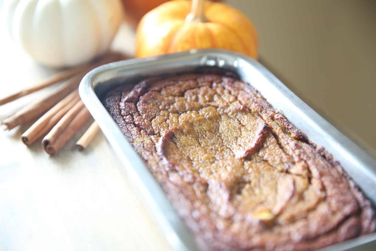 healthy pumpkin bread in a bread pan