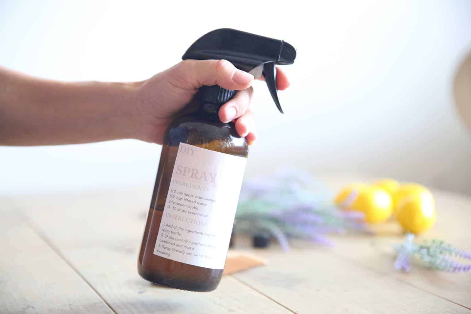 DIY Hair Detangler Spray in a glass bottle
