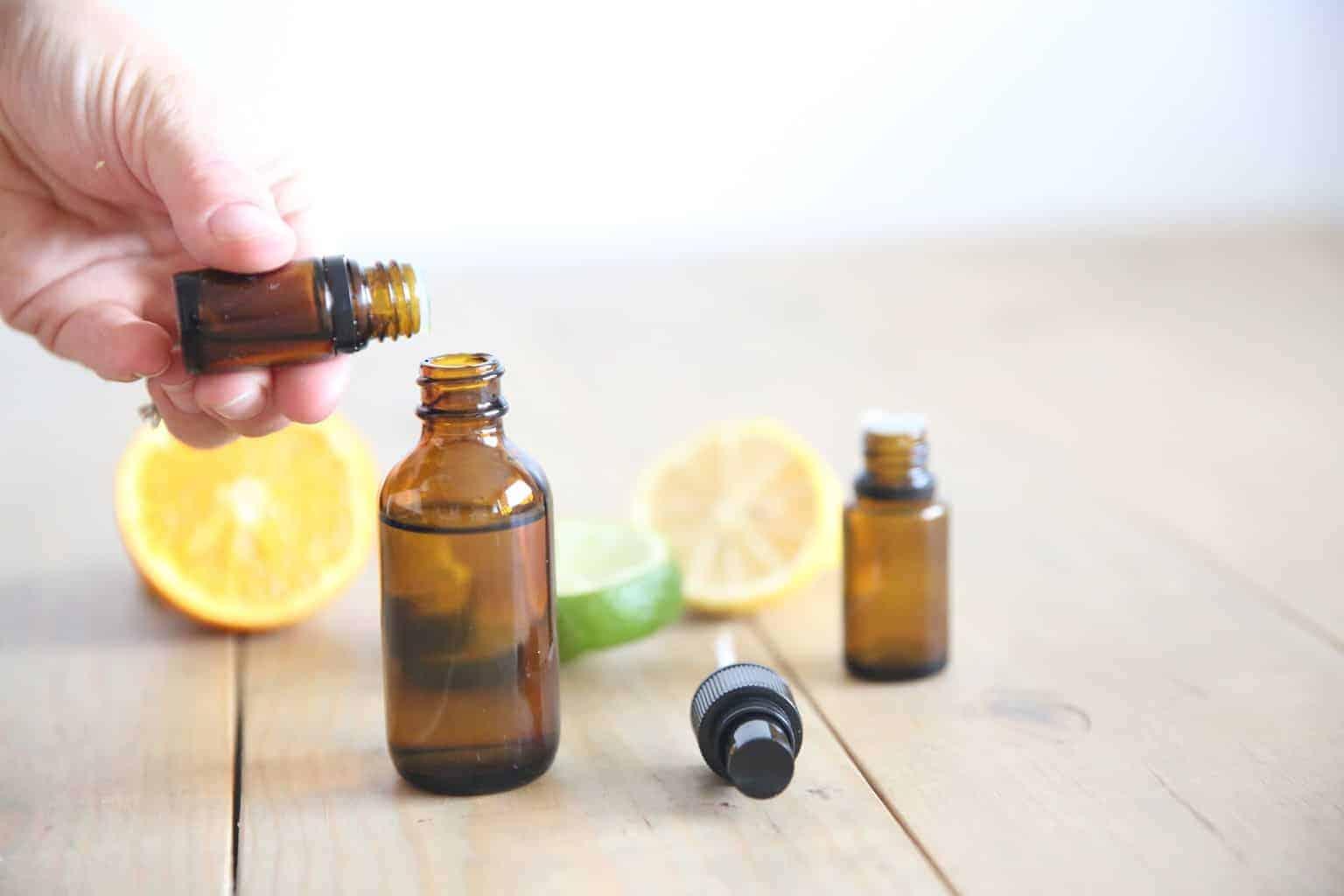 adding essential oils to citrus dropper