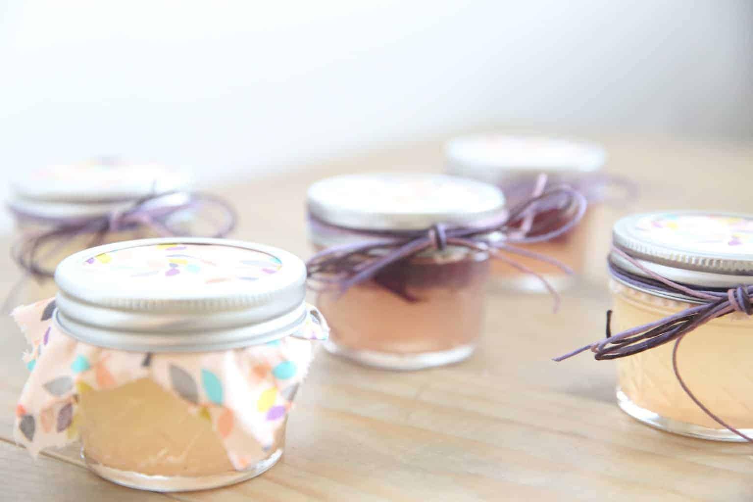 Homemade Gel Air Fresheners in small glass mason jars.