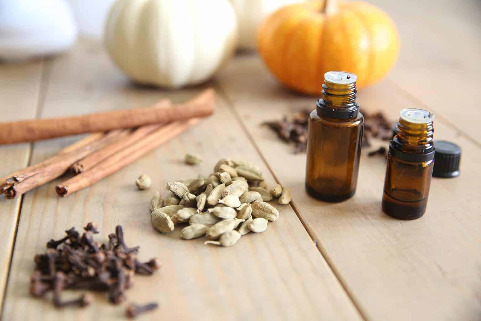 fall cinnamon and clove essential oils with dried spices
