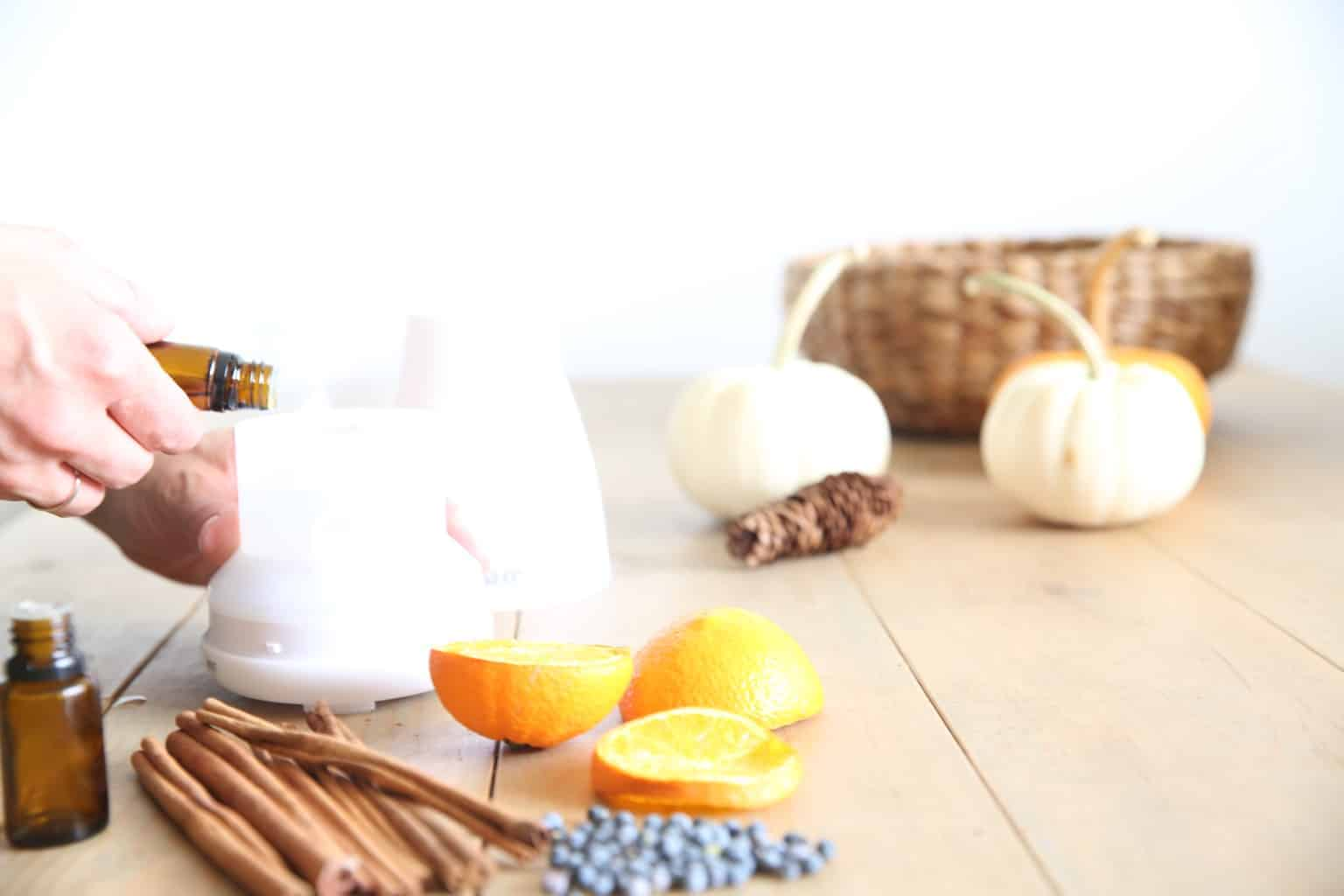 small pumpkins, dried spices with small essential oil diffuser