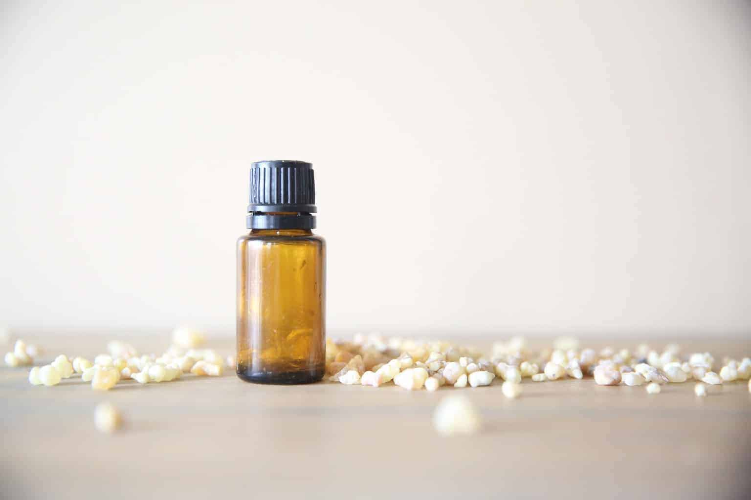 Myrrh essential oil bottle.