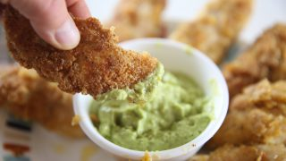 The Best Paleo Chicken Strips with Creamy Avocado  Dipping Sauce