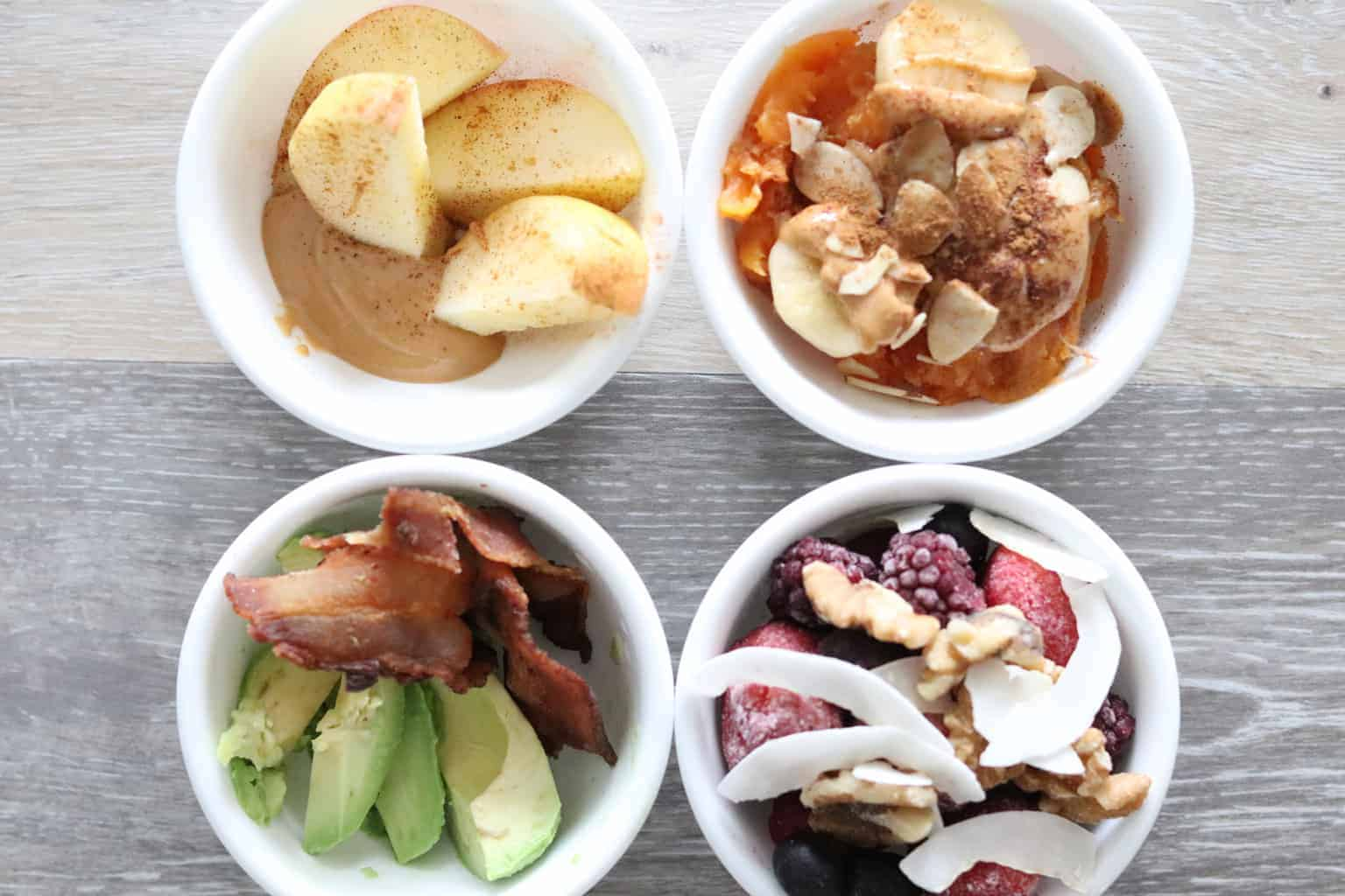 Healthy snacks in white bowls.