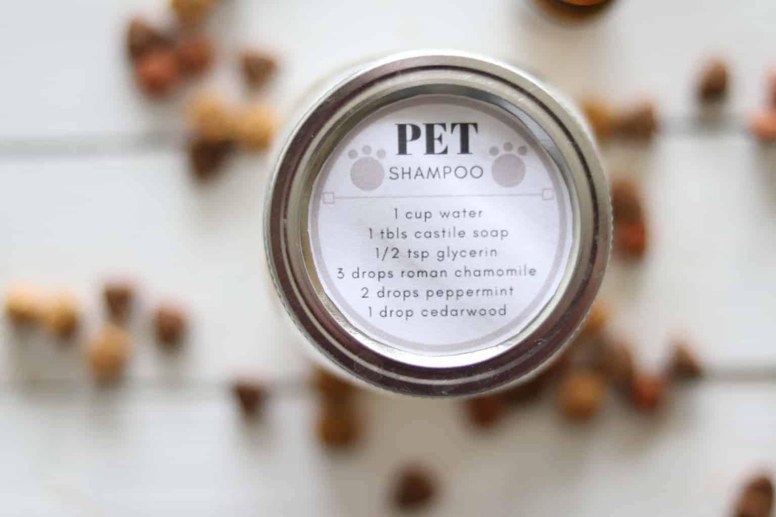 DIY pet shampoo recipe on small mason jar.