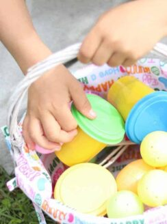 Easter Morning Basket filled with playdough and plastic eggs.