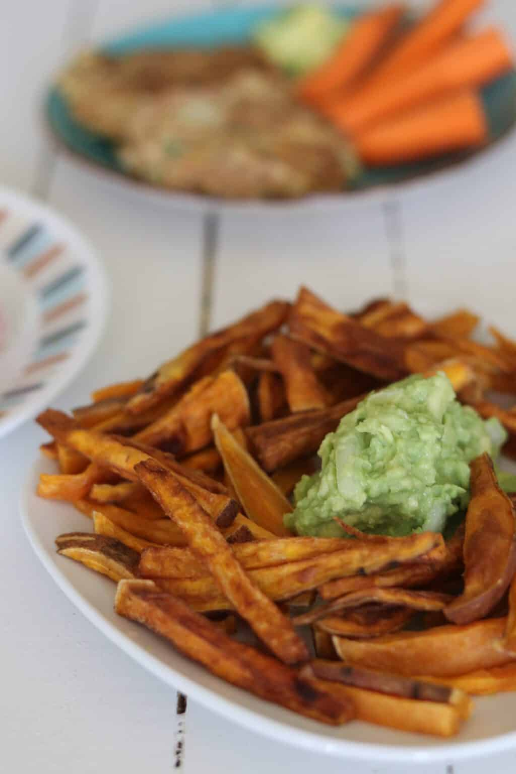 sweet potato fries and guacamole