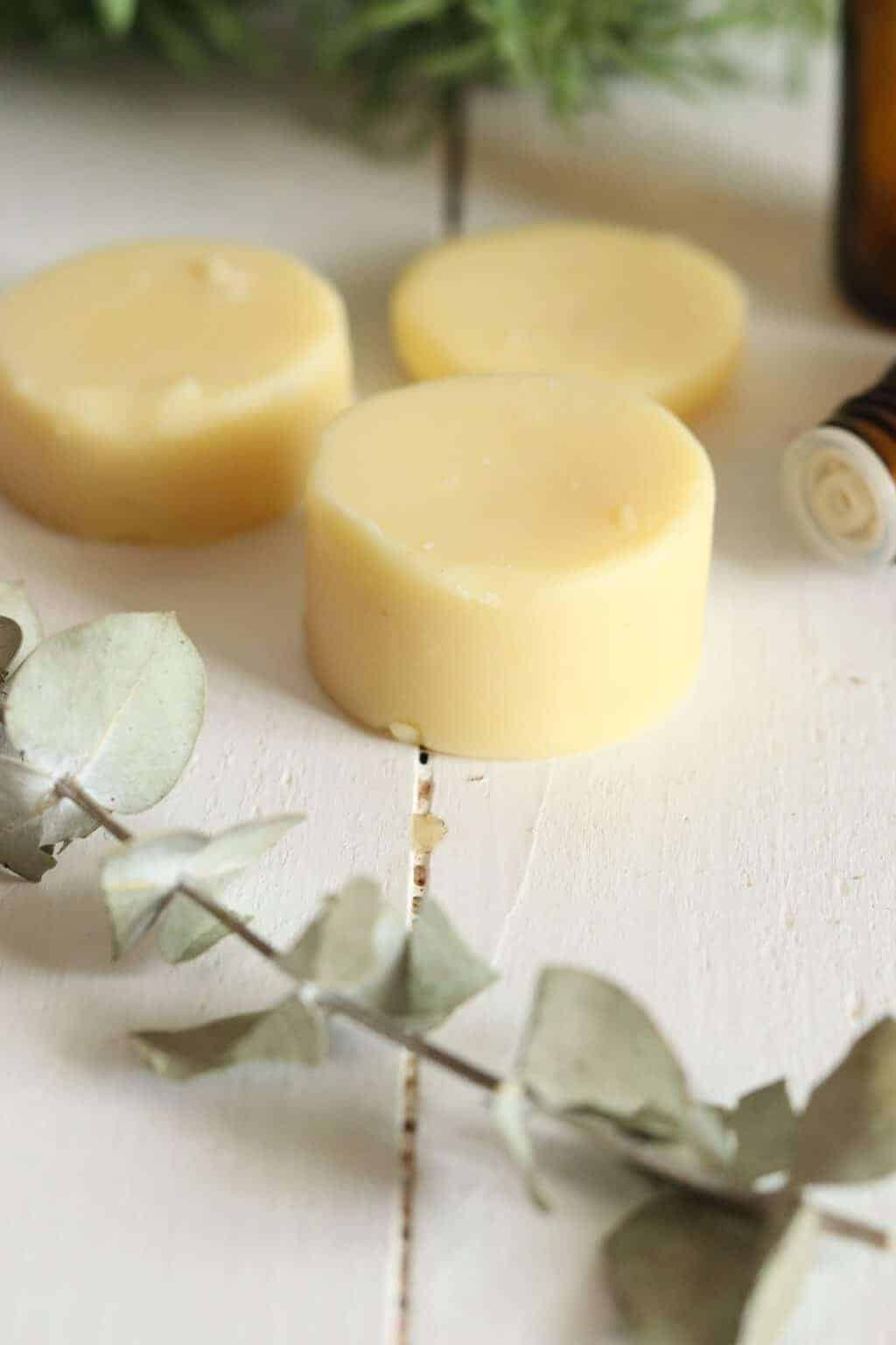 diy bug repellent lotion bars on table with eucalyptus stems and glass oil bottles