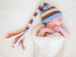 newborn baby with stocking cap