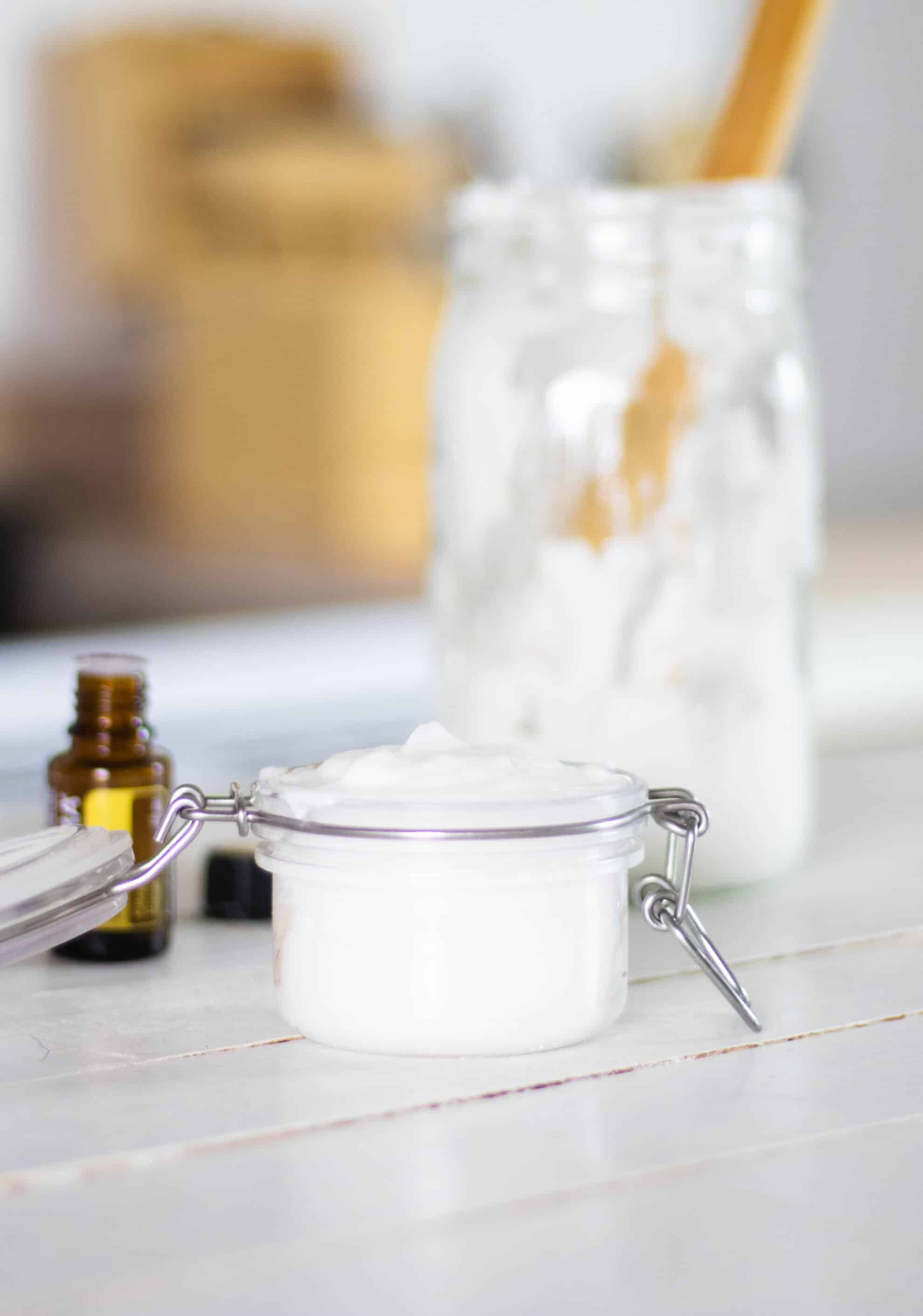 white shower scrub and tub cleaner in mason jar