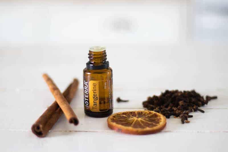 tangerine essential oil bottle cinnamon sticks orange slice and clove bud