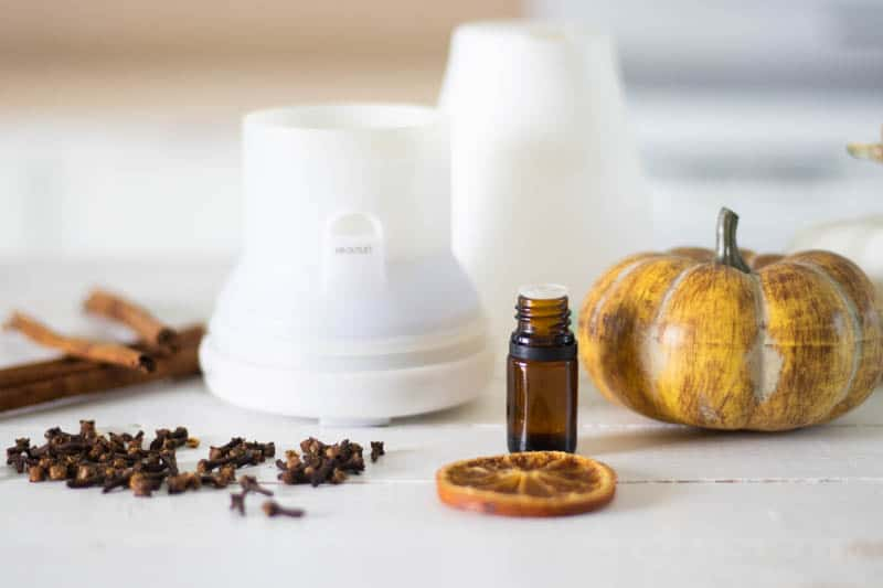 fall diffuser blend props on white ship lap