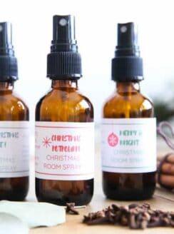 Christmas room sprays in amber glass spray bottles