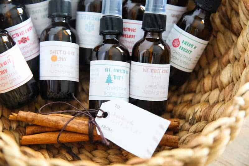 basket of essential oil room sprays for the christmas