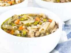 turkey soup in white bowl