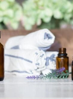 glass spray bottle with essential oil bottles