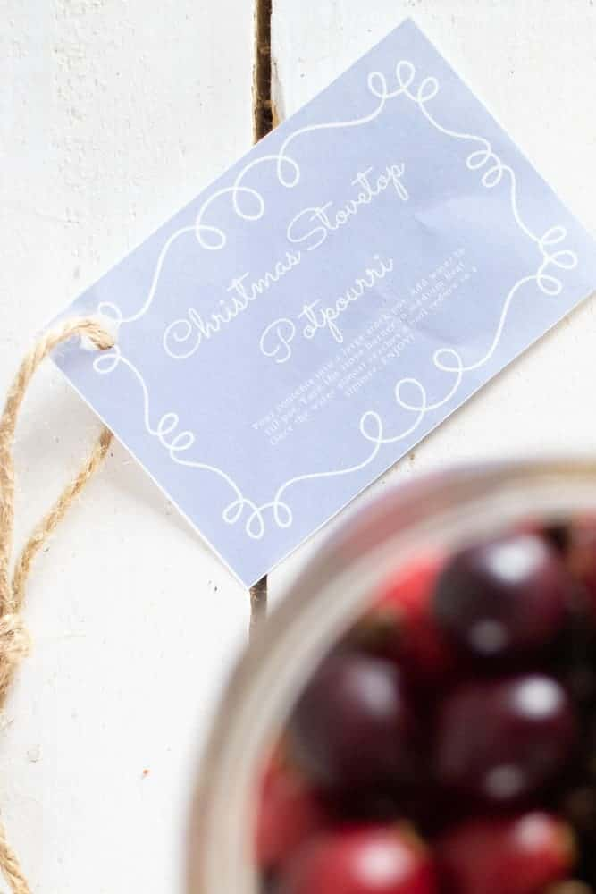 blue gift tag with twine