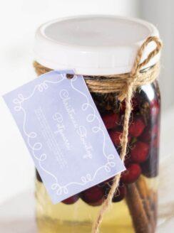 mason jar full of potpourri with gift tag