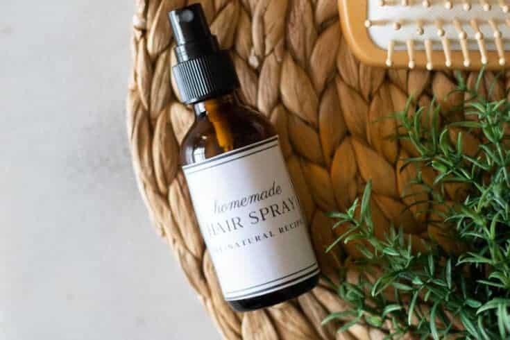 homemade hair spray in amber glass bottle