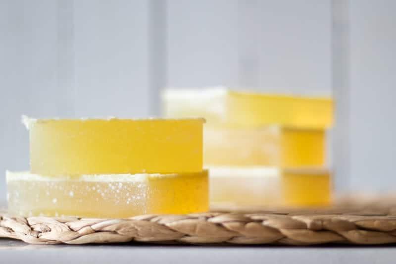 stack of homemade shampoo soap bars