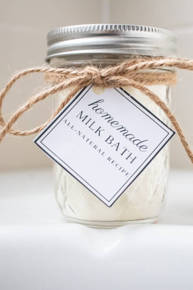 homemade milk bath in mason jar with printable gift tag