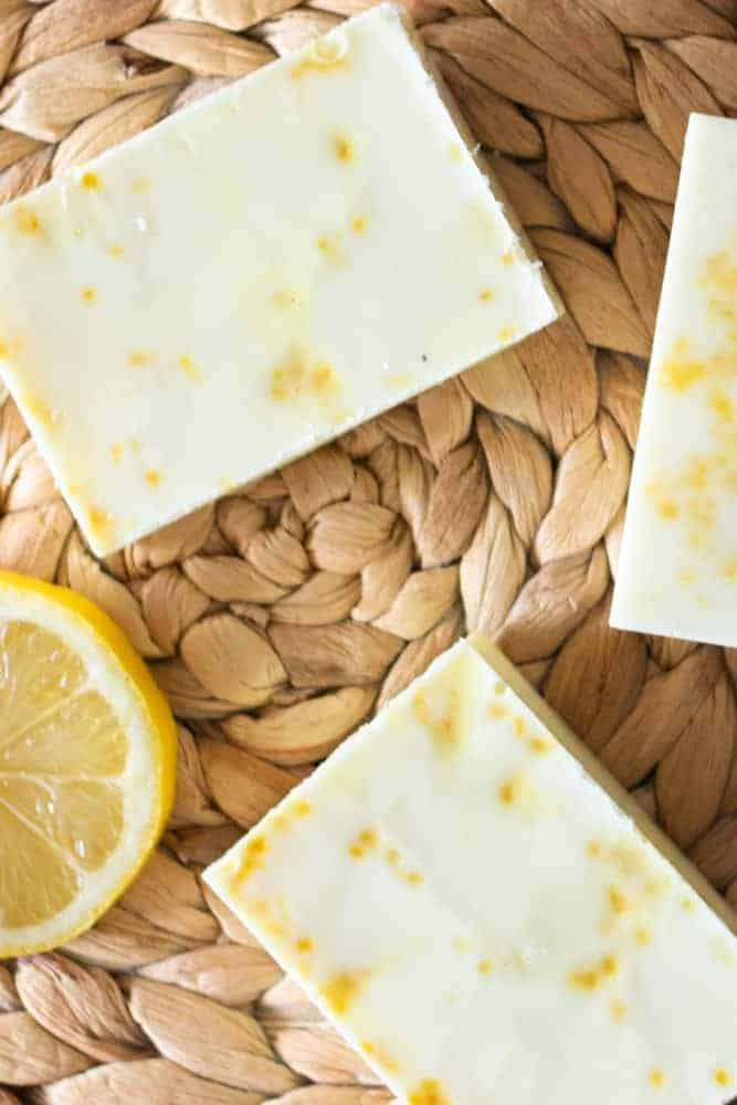 diy lemon soap bars on trivet