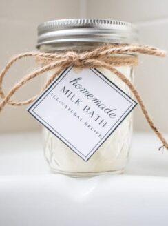 jar of powdered milk bath with gift tag