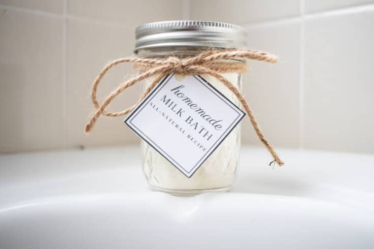 jar of powdered milk bath with gift tag