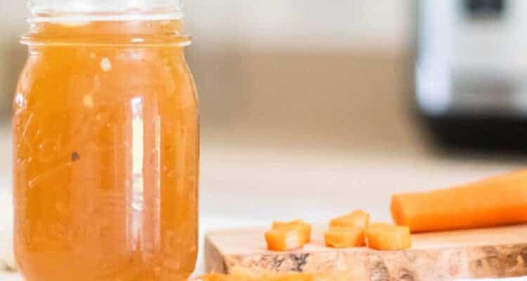 bone broth in glass mason jar