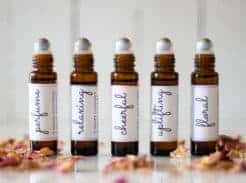 essential oil roller bottles with labels