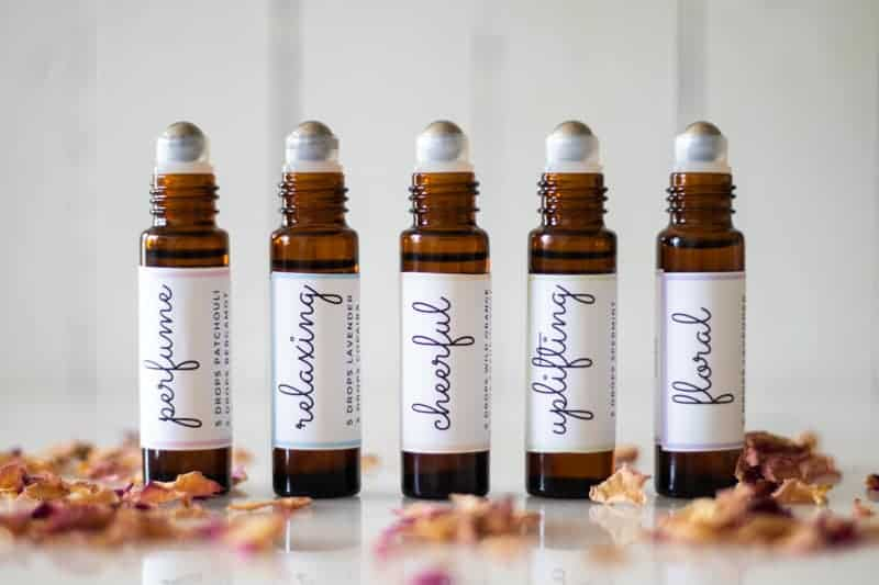essential oil roller bottles with labels for mother's day