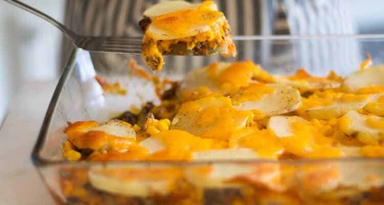 cheesy hamburger casserole in 9 by 13