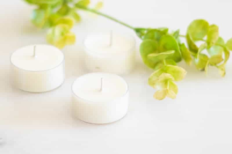 citronella candles on white marble with a green sprig