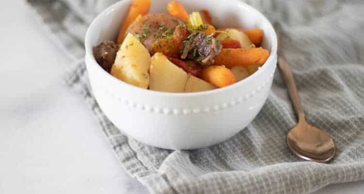 beef shank stew in white bowl