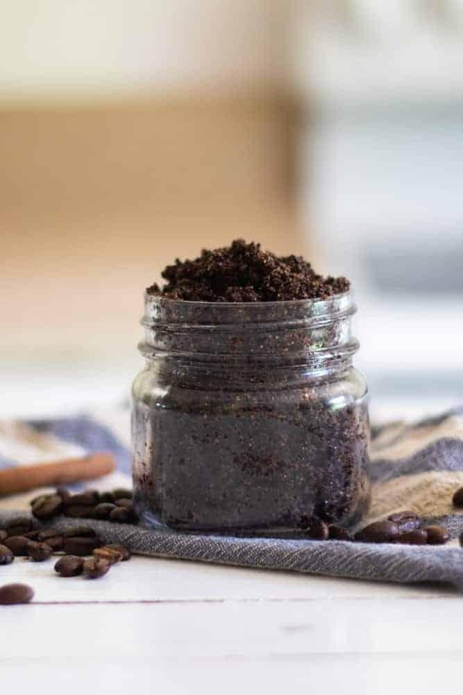 diy coffee scrub in mason jar