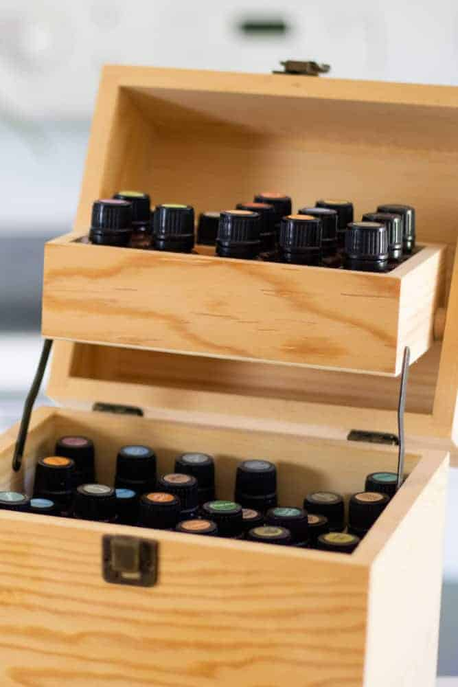 wooden essential oil storage box full of must have essential oils
