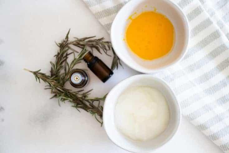egg yolk conditioner treatment in white bowl