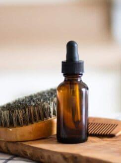 homemade beard oil in dropper bottle.