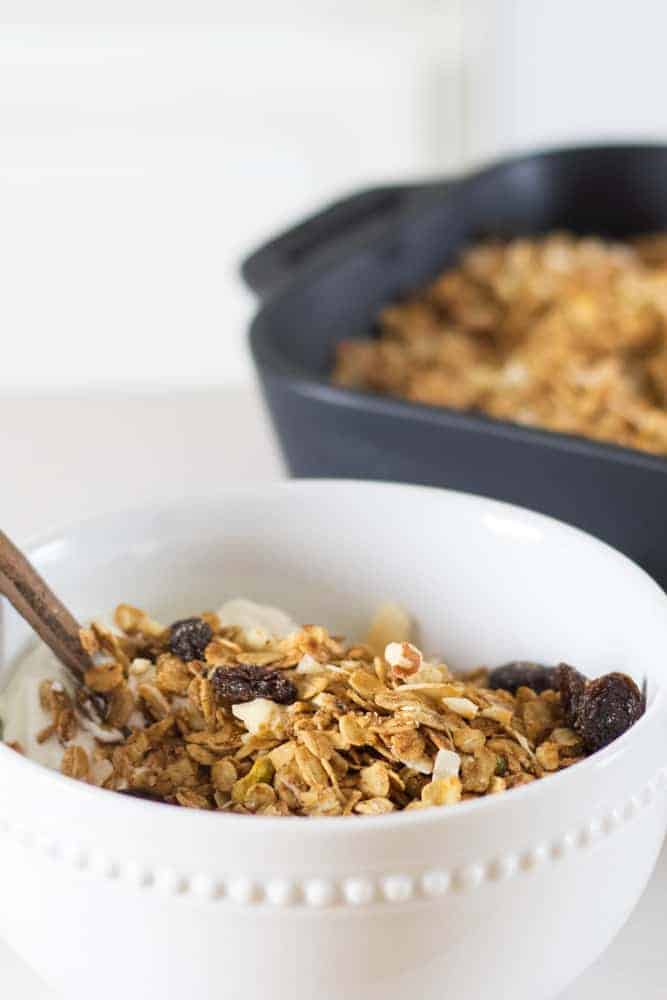 healthy sugar free granola with chopped nuts, shredded coconut and raisins in decorative white bowl with a golden spoon