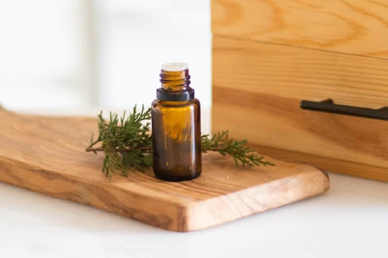amber colored Siberian fir essential oil bottle